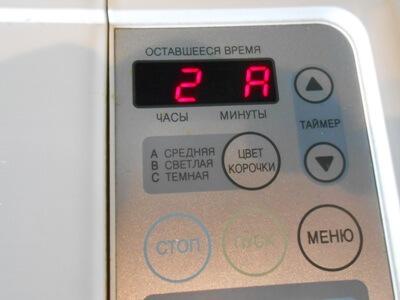 панель управления хлебопечки